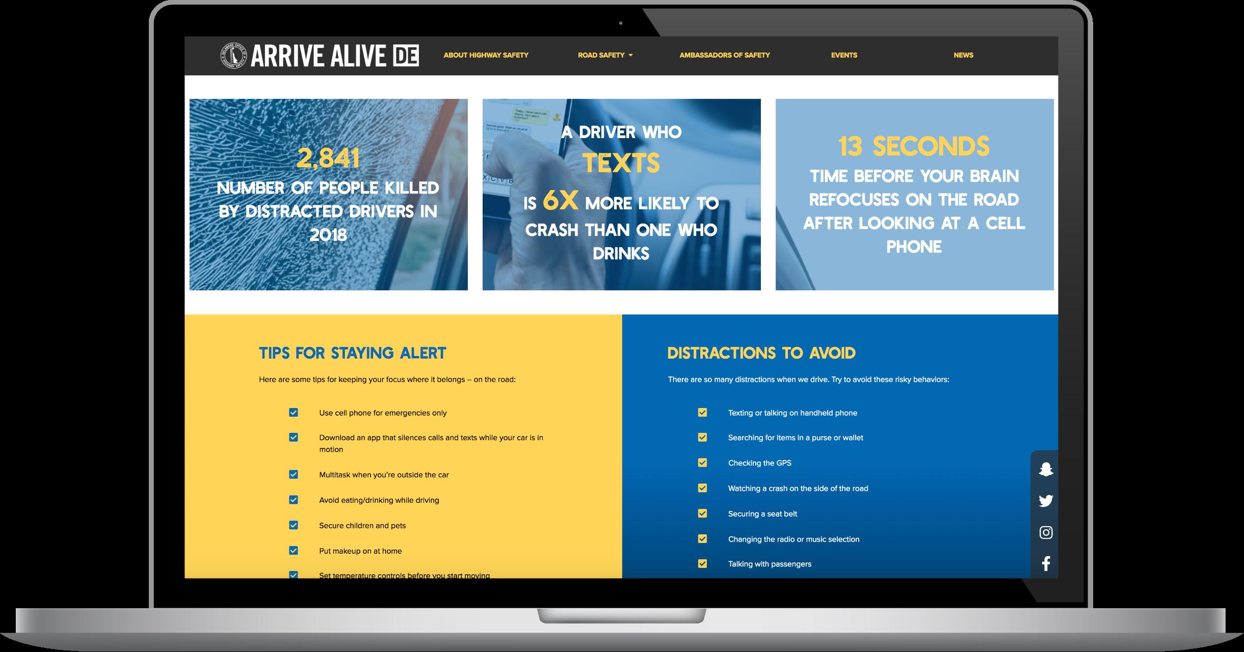 Arrive Alive laptop view